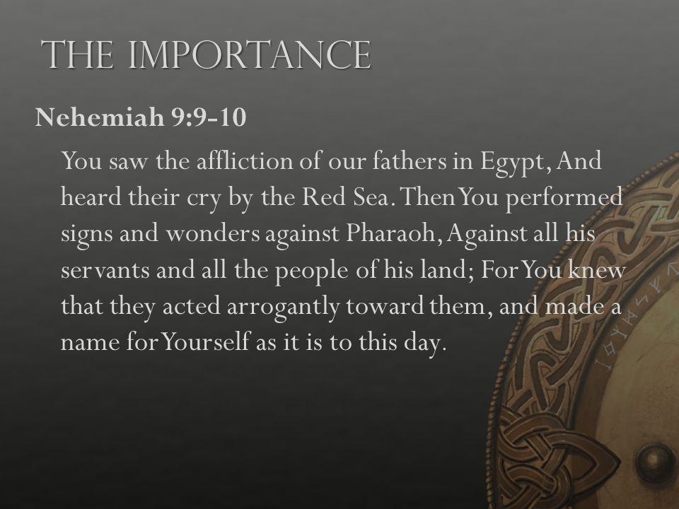 The Importance Nehemiah 9:9-10 You saw the affliction of our fathers in Egypt, And heard their cry by the Red Sea. Then You performed signs and wonder