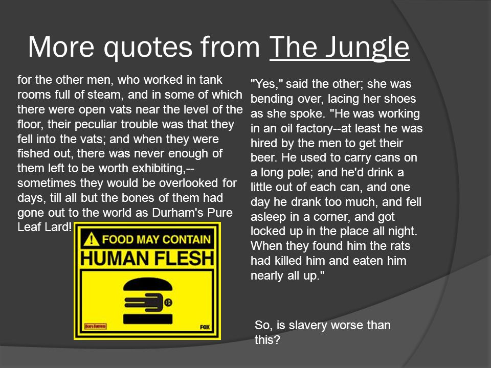 More quotes from The Jungle for the other men, who worked in tank rooms full of steam, and in some of which there were open vats near the level of the floor, their peculiar trouble was that they fell into the vats; and when they were fished out, there was never enough of them left to be worth exhibiting,-- sometimes they would be overlooked for days, till all but the bones of them had gone out to the world as Durham s Pure Leaf Lard.