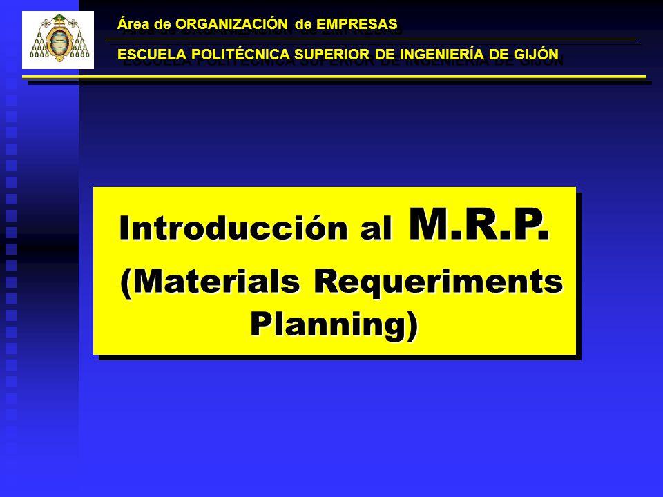 Introducción al M.R.P. (Materials Requeriments Planning) (Materials Requeriments Planning) Introducción al M.R.P. (Materials Requeriments Planning) (M
