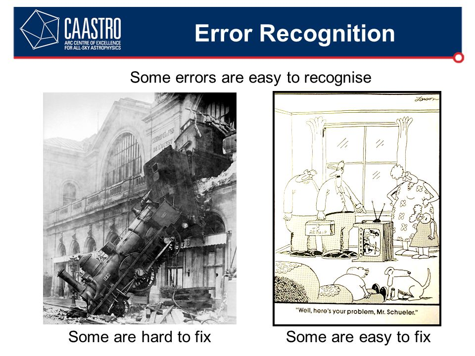 Error Recognition Some are hard to fixSome are easy to fix Some errors are easy to recognise