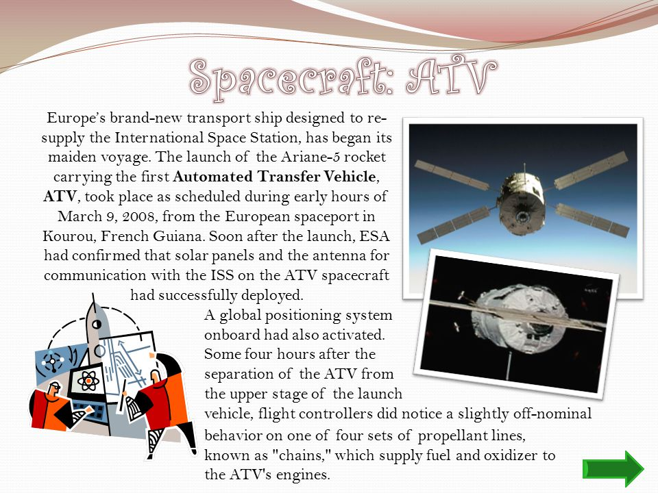 Europe's brand-new transport ship designed to re- supply the International Space Station, has began its maiden voyage.