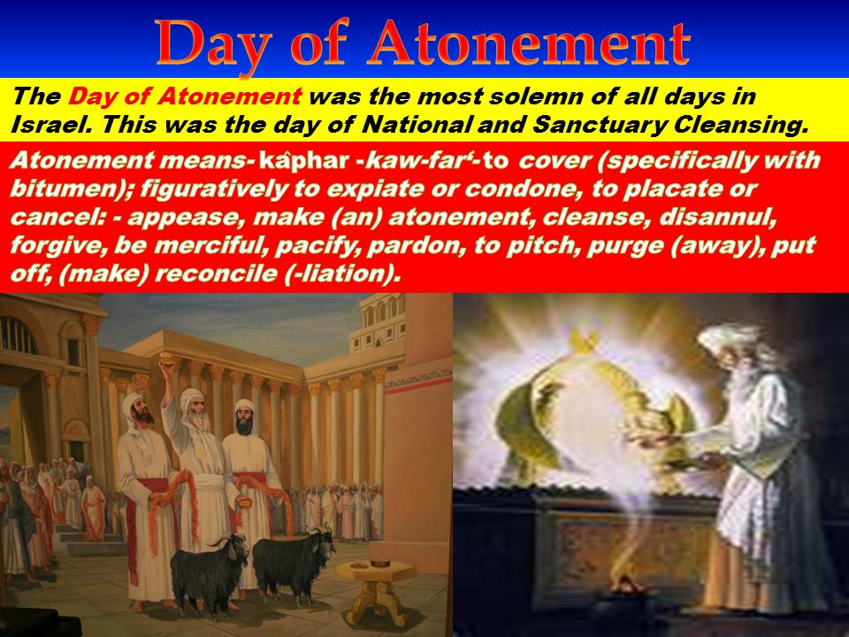 The Day of Atonement Ceremonies…..The Golden Censor Lev 16:12 And he shall take a censer full of burning coals of fire from off the altar before the LORD, and his hands full of sweet incense beaten small, and bring it within the veil: Lev 16:13 And he shall put the incense upon the fire before the LORD, that the cloud of the incense may cover the mercy seat that is upon the testimony, that he die not: Incense Incense and its ingredients typifies prayer & Intercession Psa 141:2 Let my prayer be set forth before thee as incense; and the lifting up of my hands as the evening sacrifice.