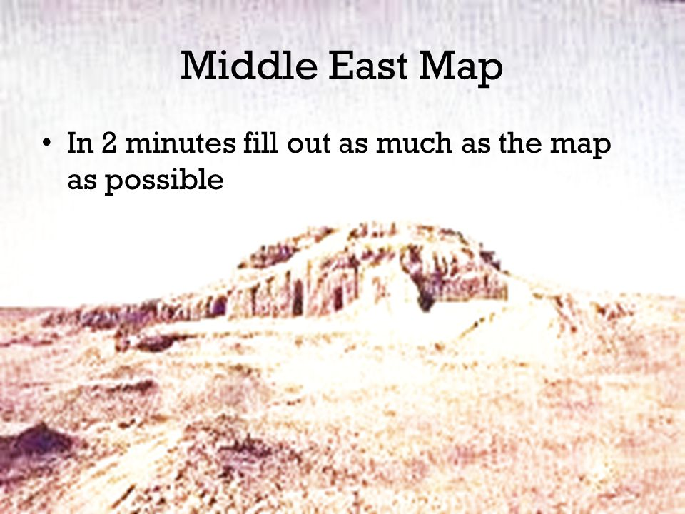 Middle East Map In 2 minutes fill out as much as the map as possible
