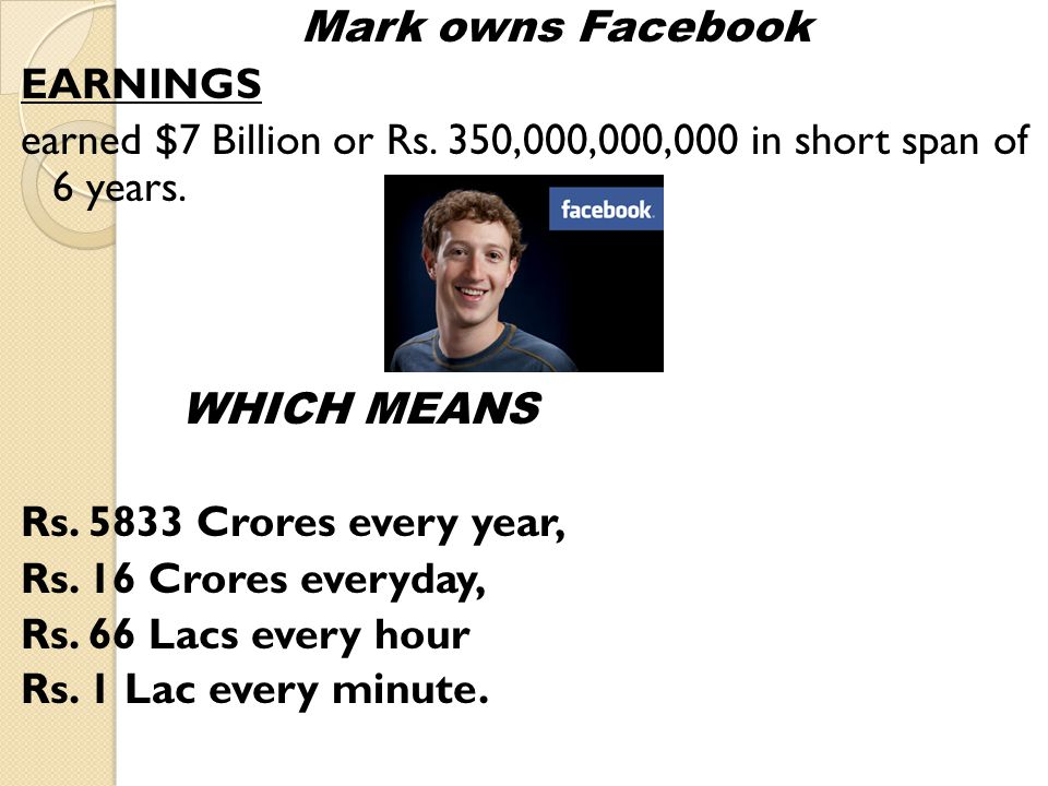 Mark owns Facebook EARNINGS earned $7 Billion or Rs.