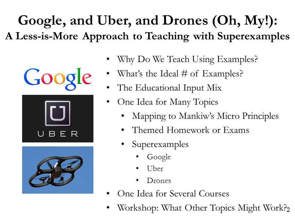 Google, and Uber, and Drones (Oh, My!): A Less-is-More Approach to Teaching with Superexamples Why Do We Teach Using Examples.