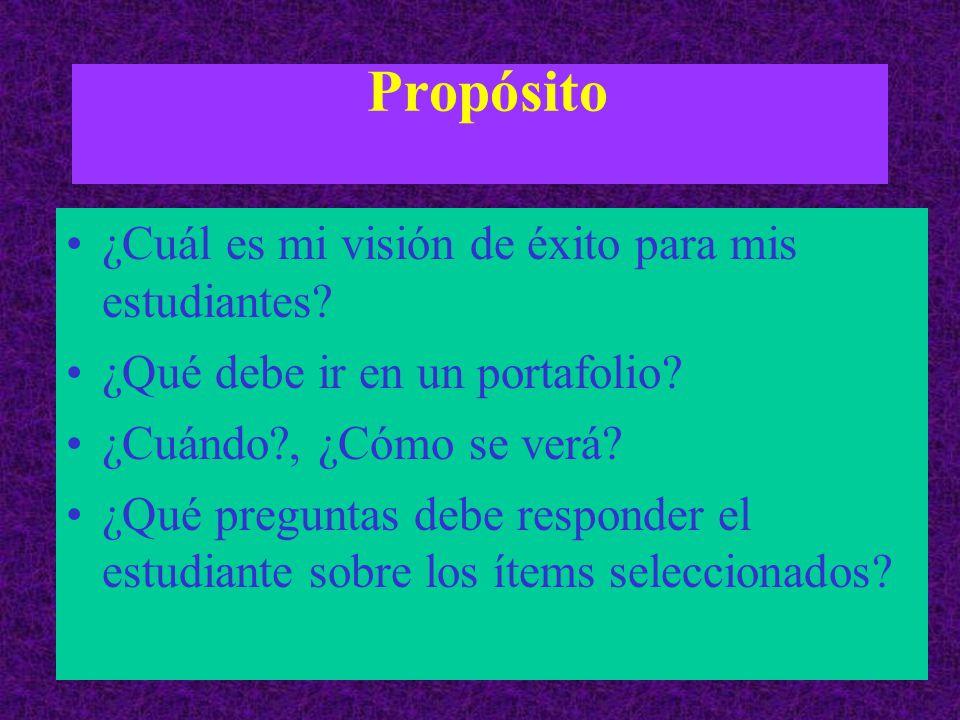 Propósito ¿Cuál es mi visión de éxito para mis estudiantes.