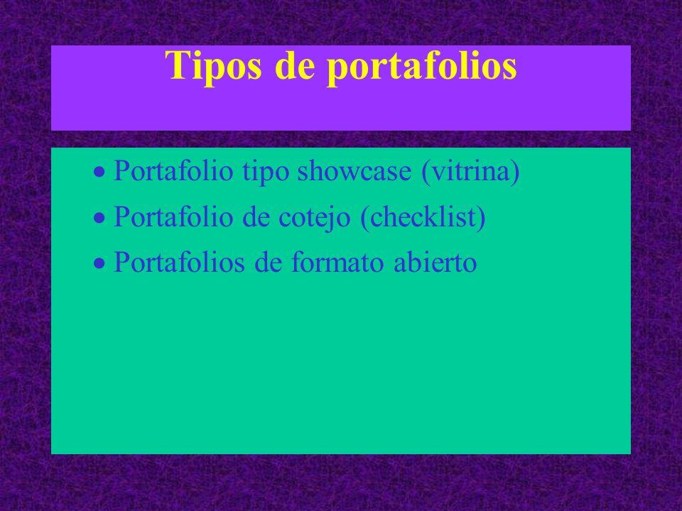 Tipos de portafolios  Portafolio tipo showcase (vitrina)  Portafolio de cotejo (checklist)  Portafolios de formato abierto