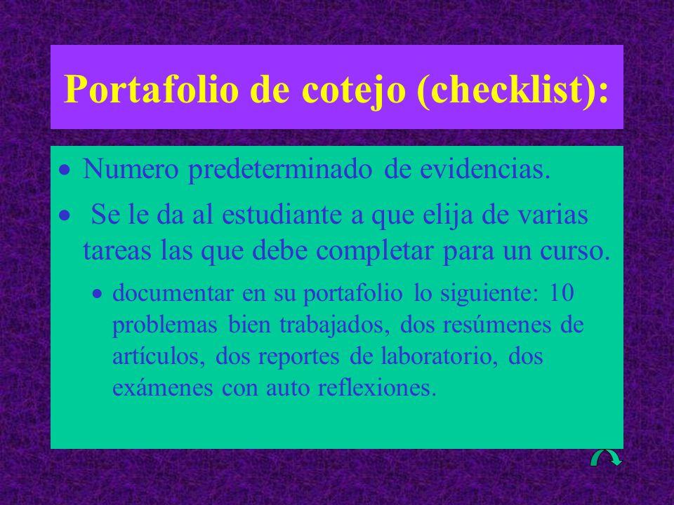 Portafolio de cotejo (checklist):  Numero predeterminado de evidencias.