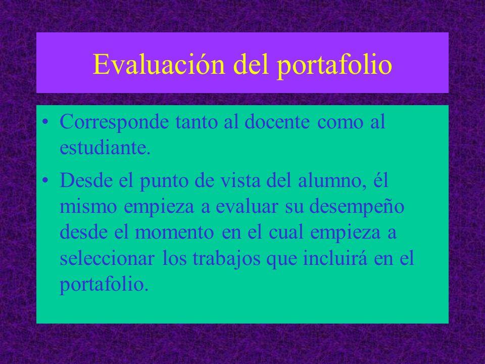 Evaluación del portafolio Corresponde tanto al docente como al estudiante.