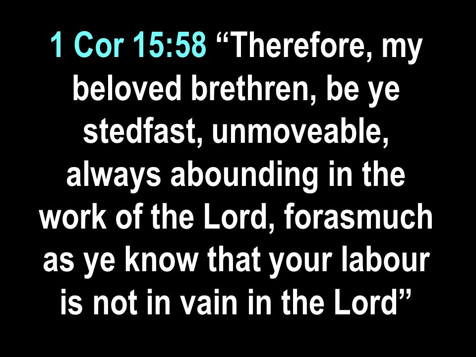 1 Cor 15:58 Therefore, my beloved brethren, be ye stedfast, unmoveable, always abounding in the work of the Lord, forasmuch as ye know that your labour is not in vain in the Lord