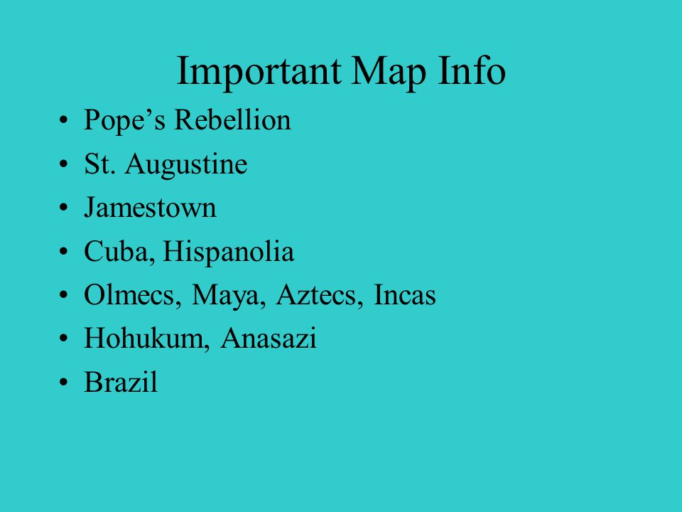 Important Map Info Pope's Rebellion St.