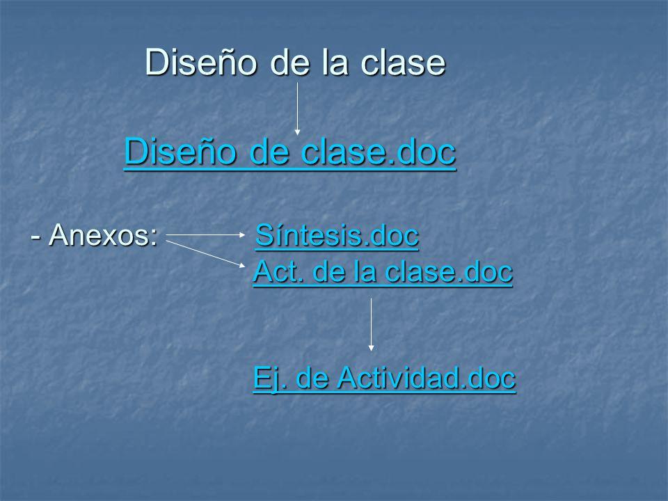Diseño de la clase Diseño de clase.doc - Anexos: Síntesis.doc Act.