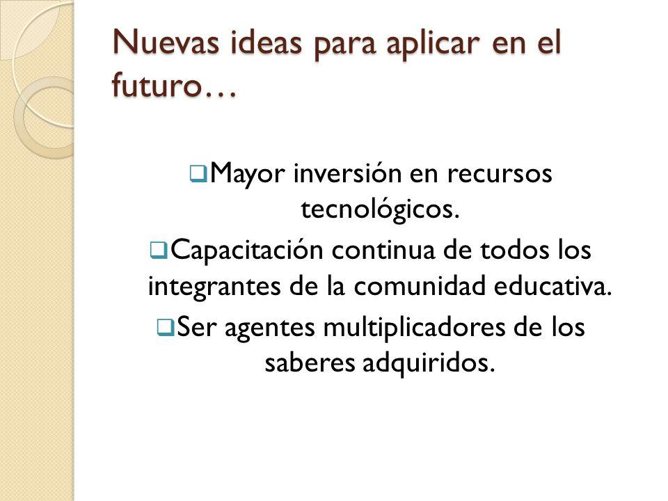 Nuevas ideas para aplicar en el futuro…  Mayor inversión en recursos tecnológicos.  Capacitación continua de todos los integrantes de la comunidad e