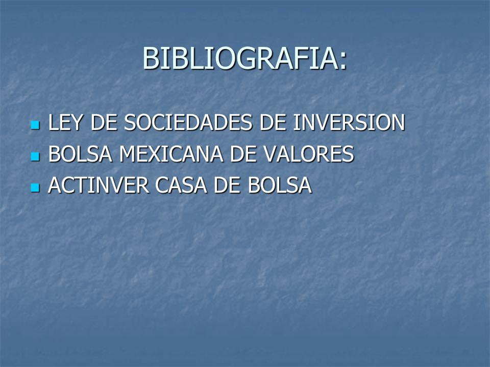 BIBLIOGRAFIA: LEY DE SOCIEDADES DE INVERSION LEY DE SOCIEDADES DE INVERSION BOLSA MEXICANA DE VALORES BOLSA MEXICANA DE VALORES ACTINVER CASA DE BOLSA ACTINVER CASA DE BOLSA
