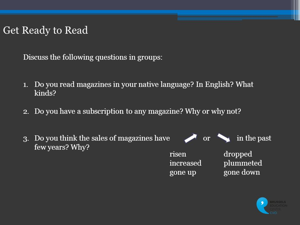 Get Ready to Read Discuss the following questions in groups: 1.Do you read magazines in your native language.