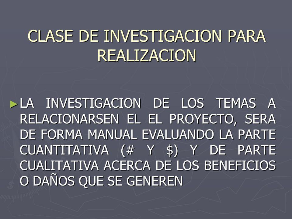 CLASE DE INVESTIGACION PARA REALIZACION ► LA INVESTIGACION DE LOS TEMAS A RELACIONARSEN EL EL PROYECTO, SERA DE FORMA MANUAL EVALUANDO LA PARTE CUANTITATIVA (# Y $) Y DE PARTE CUALITATIVA ACERCA DE LOS BENEFICIOS O DAÑOS QUE SE GENEREN
