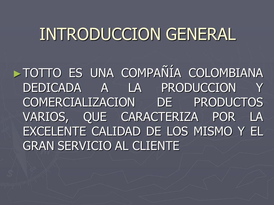 INTRODUCCION GENERAL ►T►T►T►TOTTO ES UNA COMPAÑÍA COLOMBIANA DEDICADA A LA PRODUCCION Y COMERCIALIZACION DE PRODUCTOS VARIOS, QUE CARACTERIZA POR LA EXCELENTE CALIDAD DE LOS MISMO Y EL GRAN SERVICIO AL CLIENTE