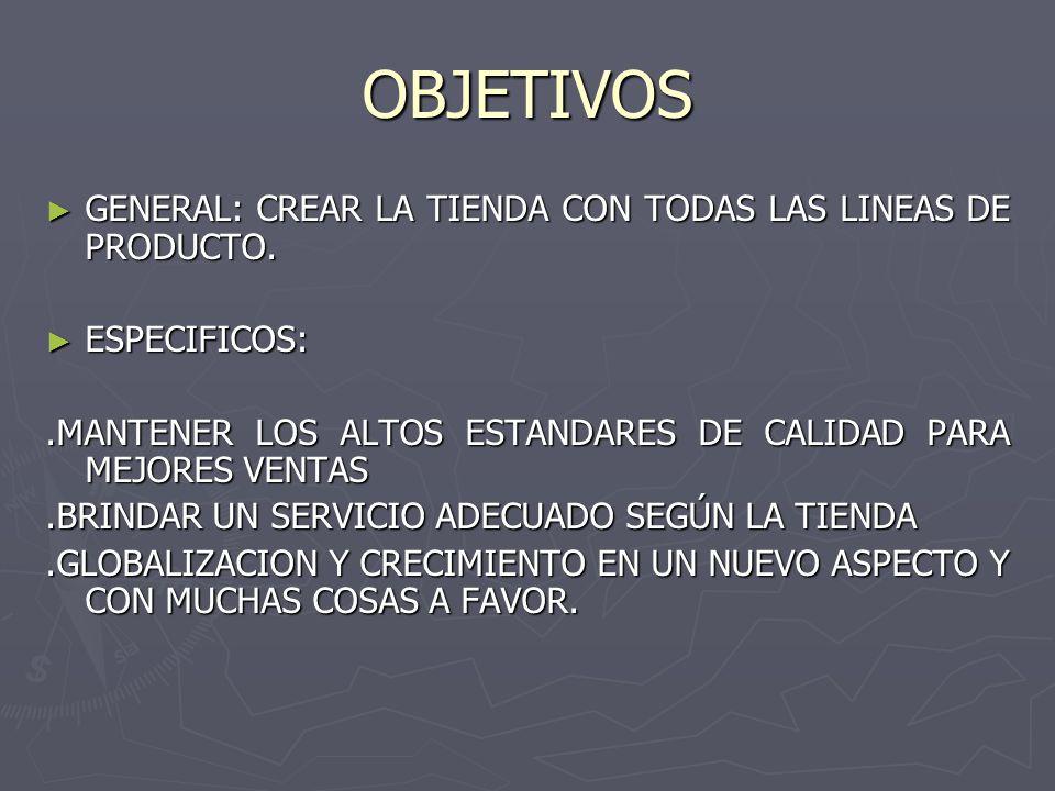 OBJETIVOS ► GENERAL: CREAR LA TIENDA CON TODAS LAS LINEAS DE PRODUCTO.
