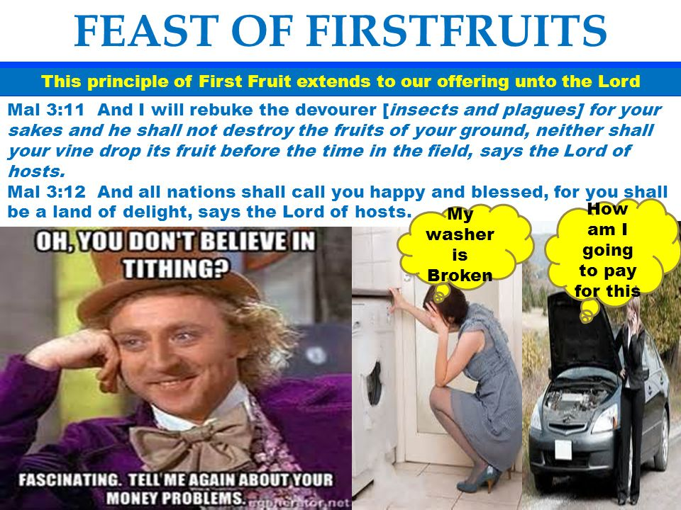 FEAST OF FIRSTFRUITS This principle of First Fruit extends to our offering unto the Lord Mal 3:11 And I will rebuke the devourer [insects and plagues]