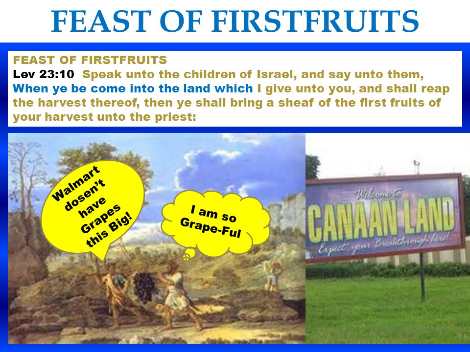 FEAST OF FIRSTFRUITS The Children of Israel could not celebrate the Feast of First Fruits until they were come into the promised Land being led by Joshua or yesh- oo -aw-(Hebrew for Jesus ) This is a wonderful prophetic picture One cannot enter into the fulfillment of this Feast until you follow the Greater Joshua (Jesus) through the death of the Jordan river (symbolic of baptism) and into the promised land of the New Birth & circumcision of heart.
