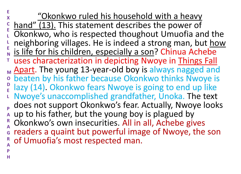 Okonkwo ruled his household with a heavy hand (13).