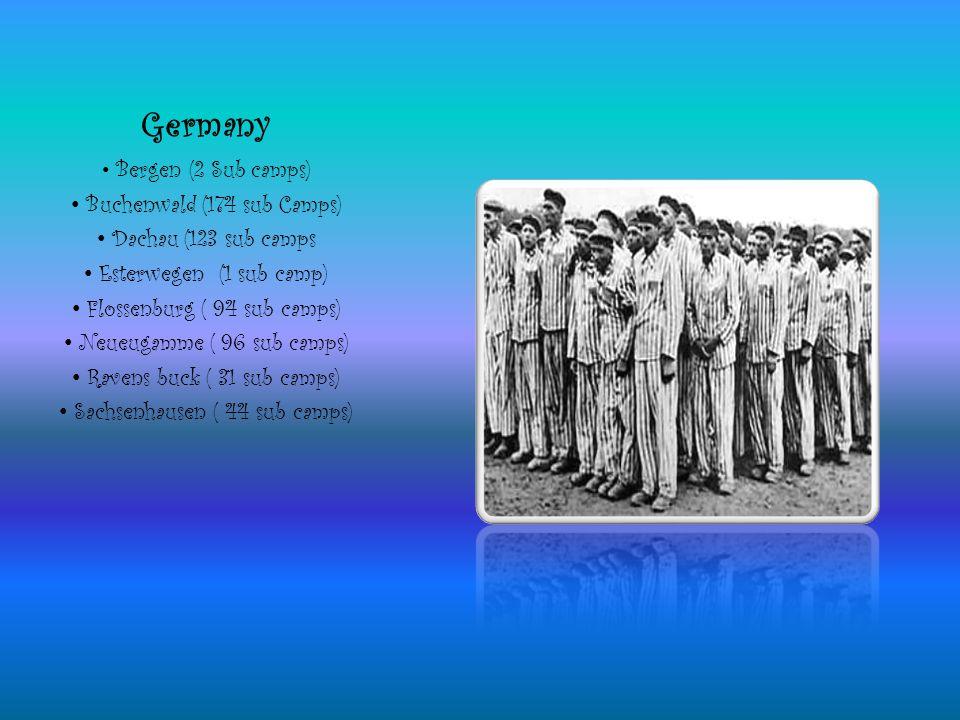 Germany Bergen (2 Sub camps) Buchenwald (174 sub Camps) Dachau (123 sub camps Esterwegen (1 sub camp) Flossenburg ( 94 sub camps) Neueugamme ( 96 sub camps) Ravens buck ( 31 sub camps) Sachsenhausen ( 44 sub camps)