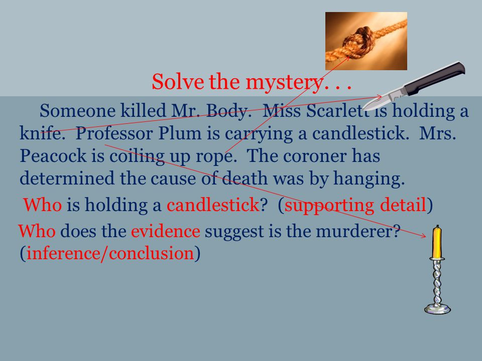 Solve the mystery... Someone killed Mr. Body. Miss Scarlett is holding a knife.