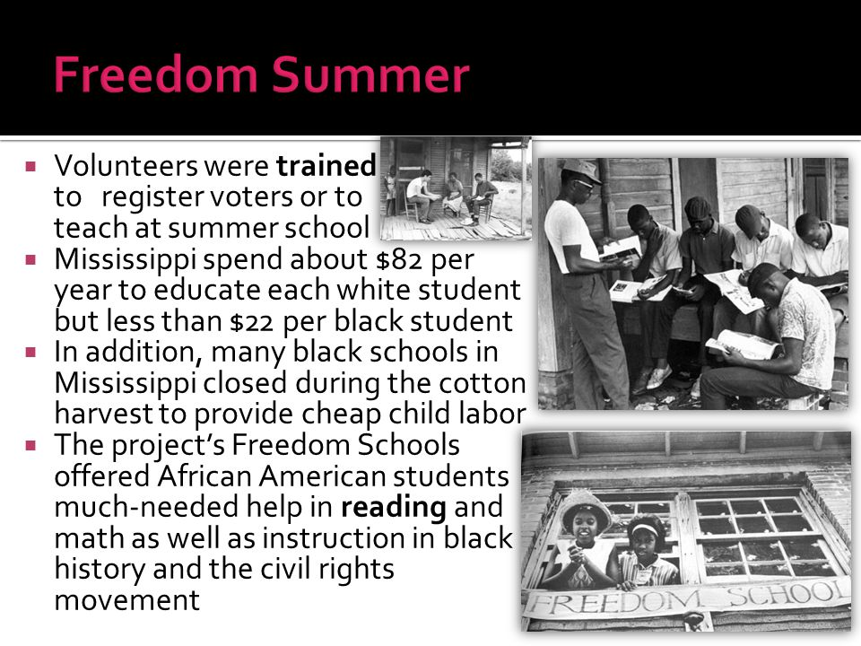  Volunteers were trained to register voters or to teach at summer school  Mississippi spend about $82 per year to educate each white student but les