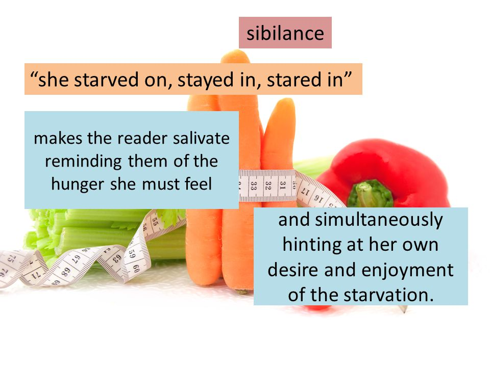 """makes the reader salivate reminding them of the hunger she must feel """"she starved on, stayed in, stared in"""" and simultaneously hinting at her own desi"""