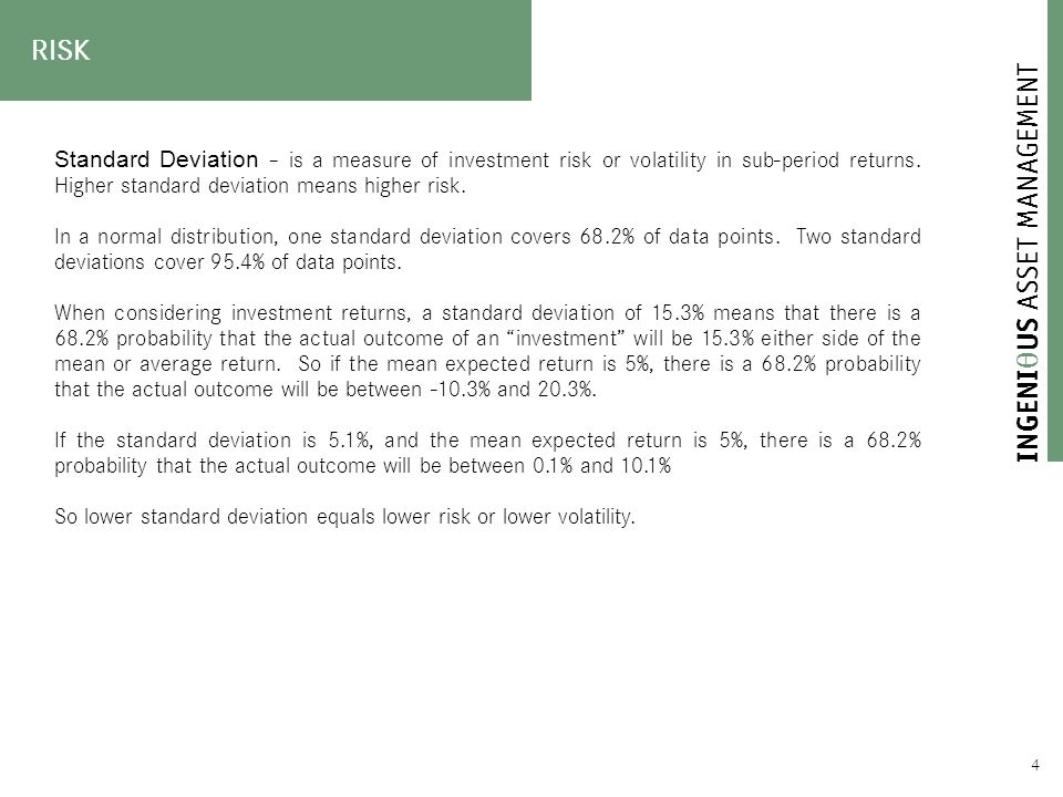  4 Standard Deviation – is a measure of investment risk or volatility in sub-period returns.