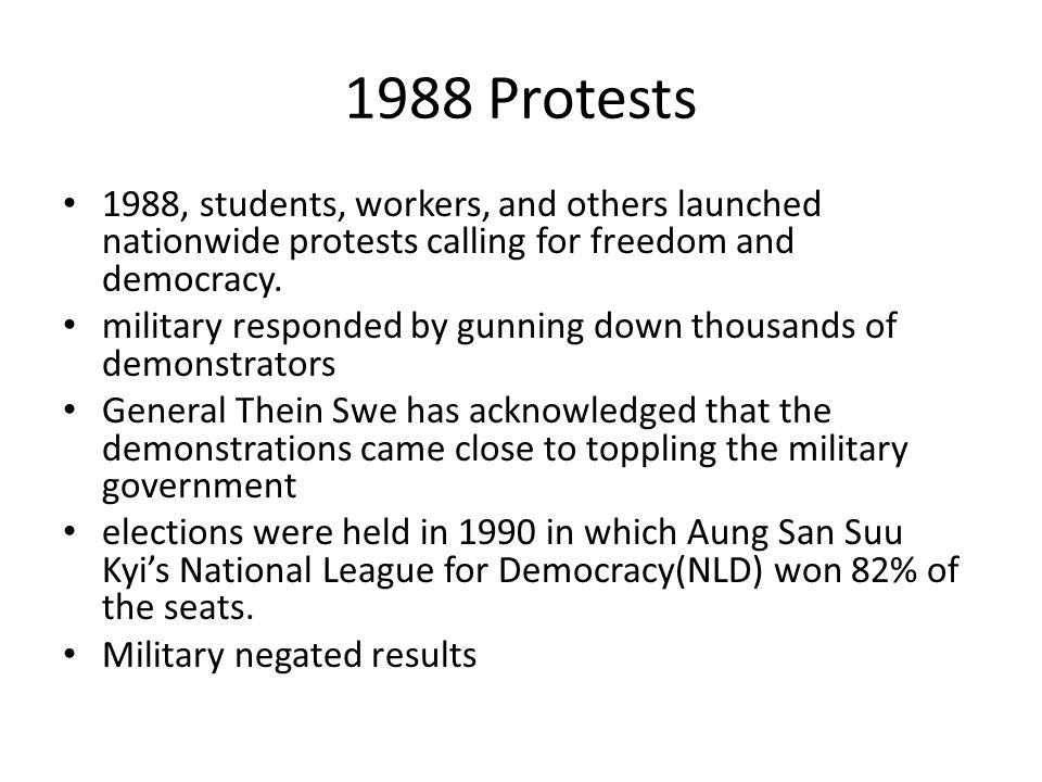 Saffron Revolution 2007 Anti government protests sparked by reduced fuel subsidies Monasteries raided, monks beaten and arrested Violent crackdown regime cut off all internet access and made international phone usage impossible for two weeks