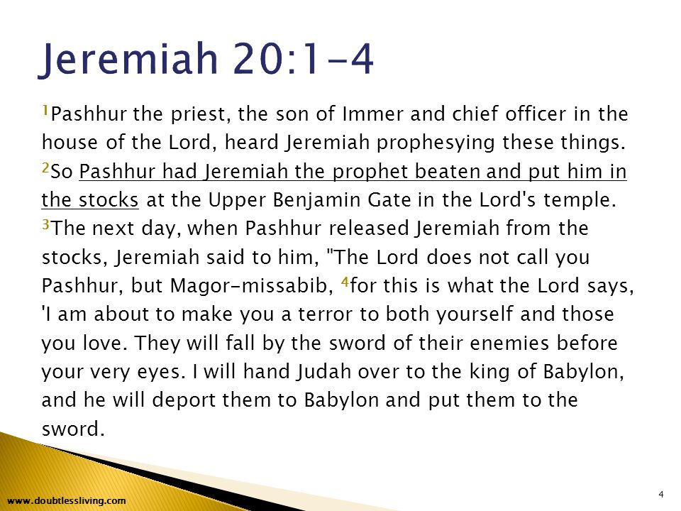 1 Pashhur the priest, the son of Immer and chief officer in the house of the Lord, heard Jeremiah prophesying these things.