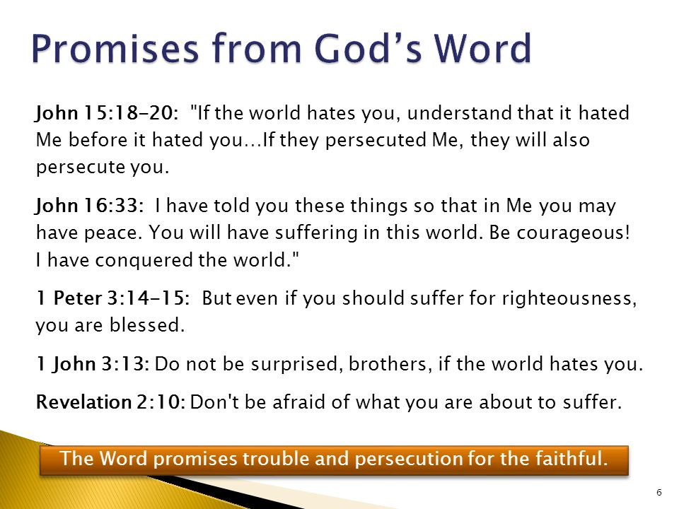 John 15:18-20: If the world hates you, understand that it hated Me before it hated you…If they persecuted Me, they will also persecute you.