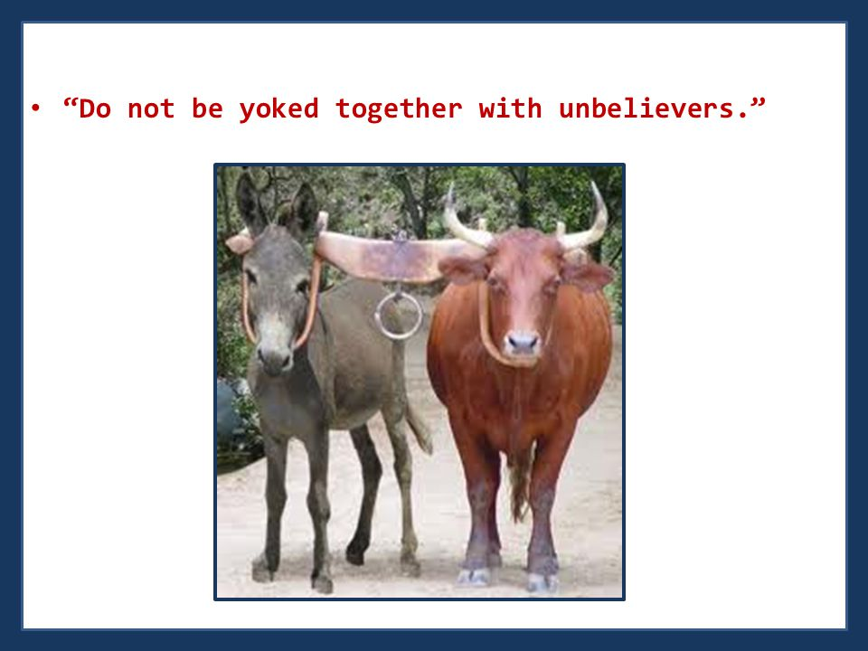 Do not be yoked together with unbelievers.