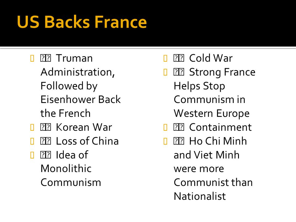 US Backs France Truman Administration, Followed by Eisenhower Back the French Korean War Loss of China Idea of Monolithic Communism Cold War Strong Fr