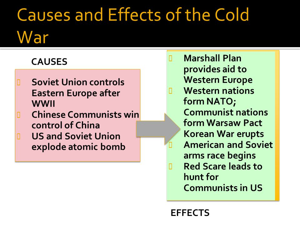 Causes and Effects of the Cold War Soviet Union controls Eastern Europe after WWII Chinese Communists win control of China US and Soviet Union explode