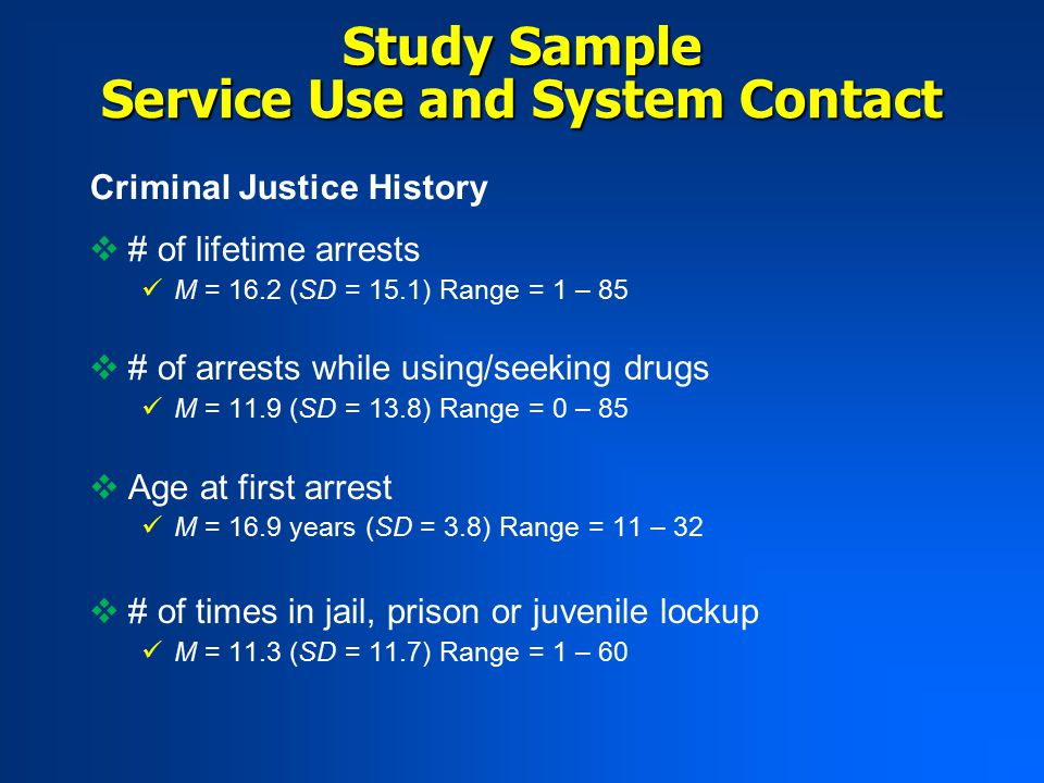 Service Use and System Contact Criminal Justice History  # of lifetime arrests M = 16.2 (SD = 15.1) Range = 1 – 85  # of arrests while using/seeking drugs M = 11.9 (SD = 13.8) Range = 0 – 85  Age at first arrest M = 16.9 years (SD = 3.8) Range = 11 – 32  # of times in jail, prison or juvenile lockup M = 11.3 (SD = 11.7) Range = 1 – 60 Study Sample