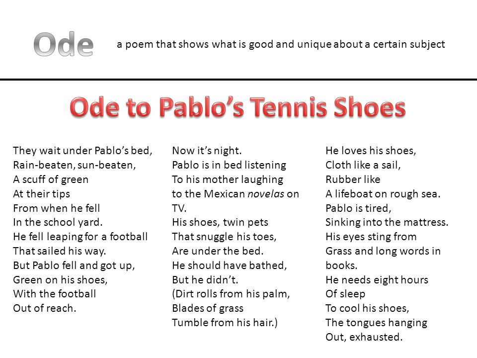 a poem that shows what is good and unique about a certain subject They wait under Pablo's bed, Rain-beaten, sun-beaten, A scuff of green At their tips