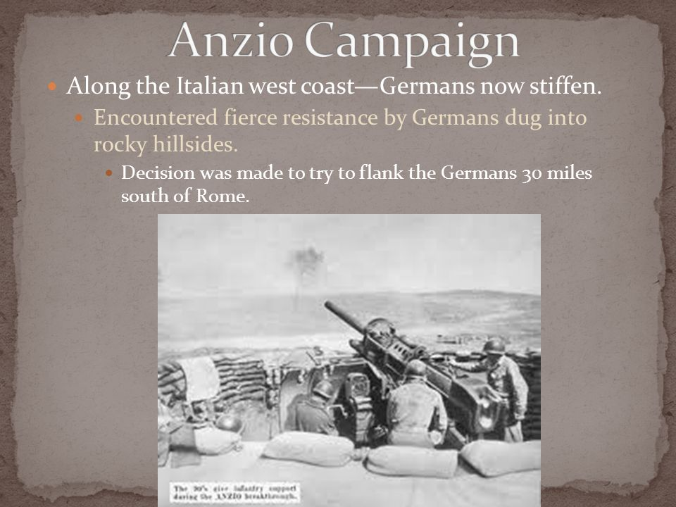 Along the Italian west coast—Germans now stiffen.