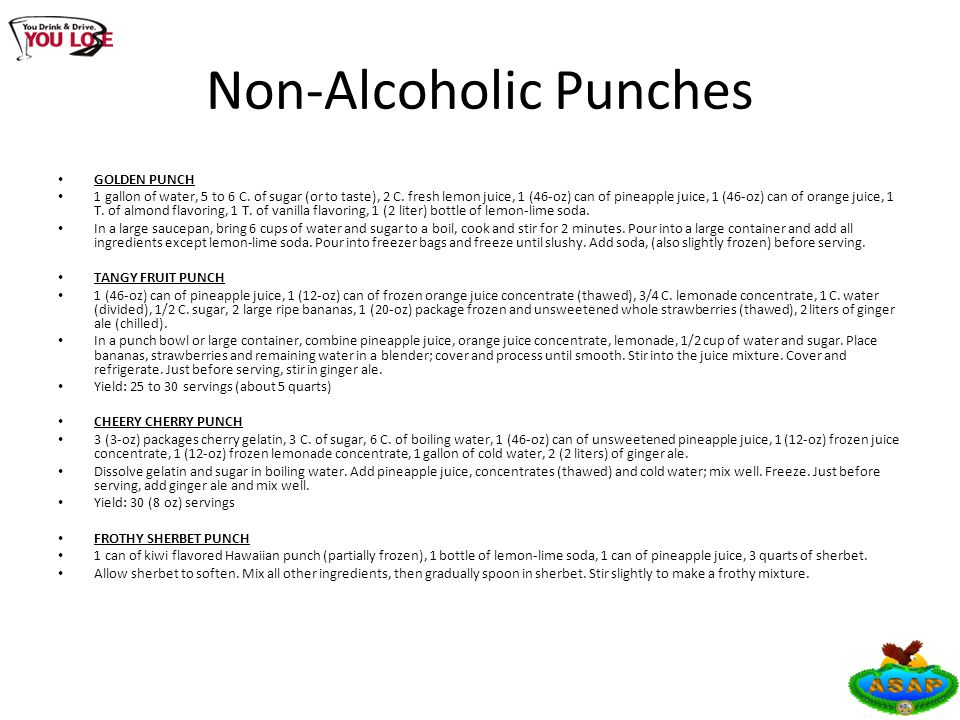 Non-Alcoholic Punches GOLDEN PUNCH 1 gallon of water, 5 to 6 C.