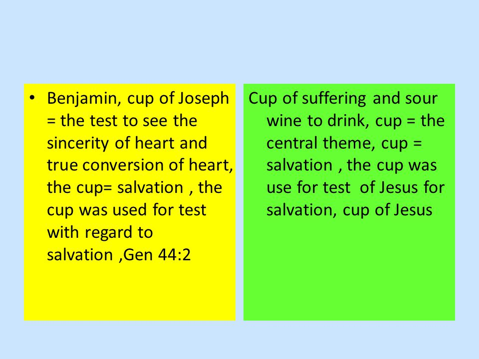 Benjamin, cup of Joseph = the test to see the sincerity of heart and true conversion of heart, the cup= salvation, the cup was used for test with regard to salvation,Gen 44:2 Cup of suffering and sour wine to drink, cup = the central theme, cup = salvation, the cup was use for test of Jesus for salvation, cup of Jesus