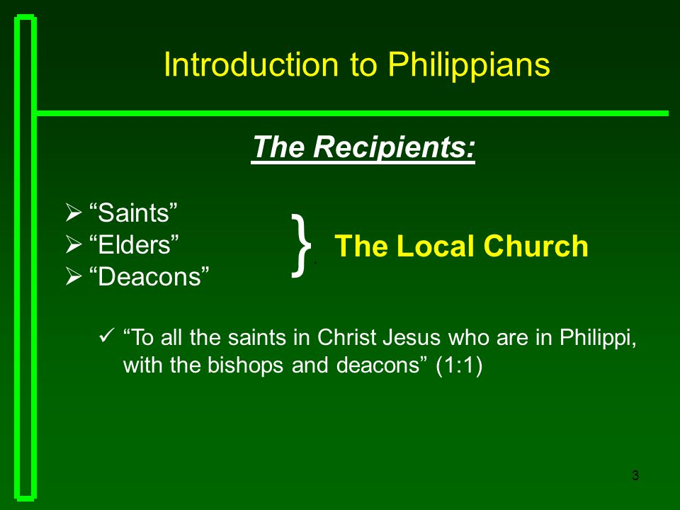 14 Introduction to Philippians The Overview  Chapter FOUR: 1.Attention to commendable attitudes 4:1-7 2.Concern for personal growth 4:8-9 3.Liberality in supporting the Lord's work 4:10-20