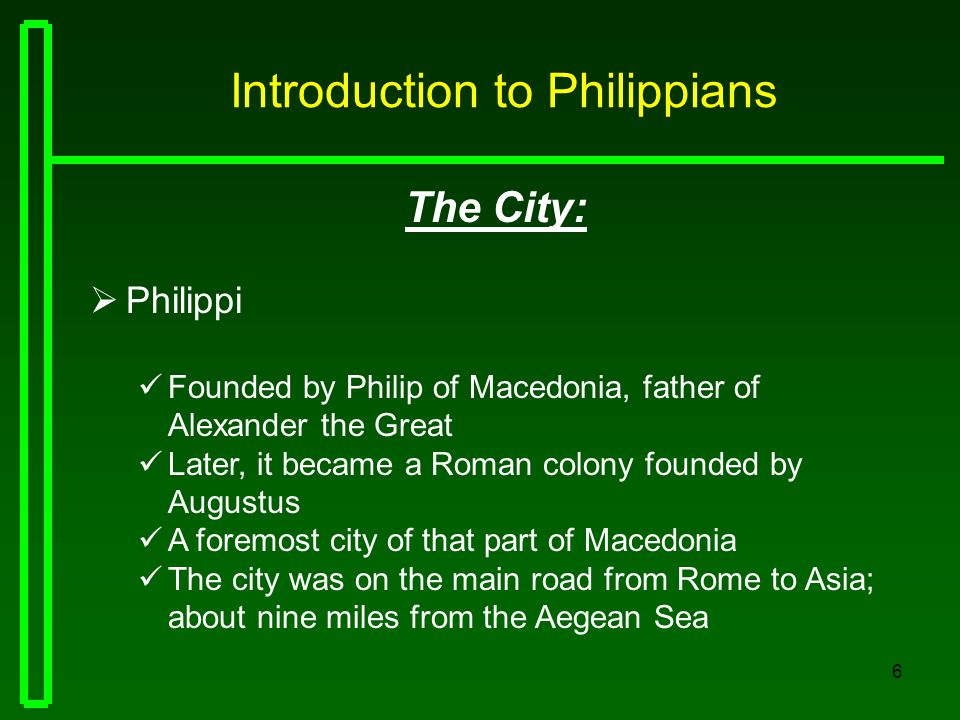 7 Introduction to Philippians The History:  Philippi Paul first visited the city on his second journey He converted Lydia and her household (Acts 16:14,15) Paul and Silas were beaten and thrown into prison Then, converted the jailor and his household