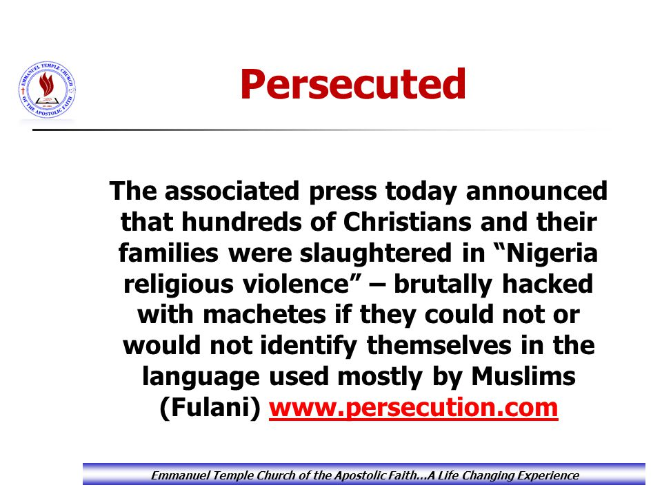 "The associated press today announced that hundreds of Christians and their families were slaughtered in ""Nigeria religious violence"" – brutally hacked"