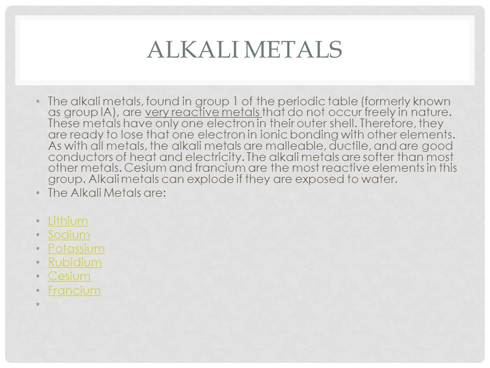 ALKALINE EARTH ELEMENTS The alkaline earth elements are metallic elements found in the second group of the periodic table.