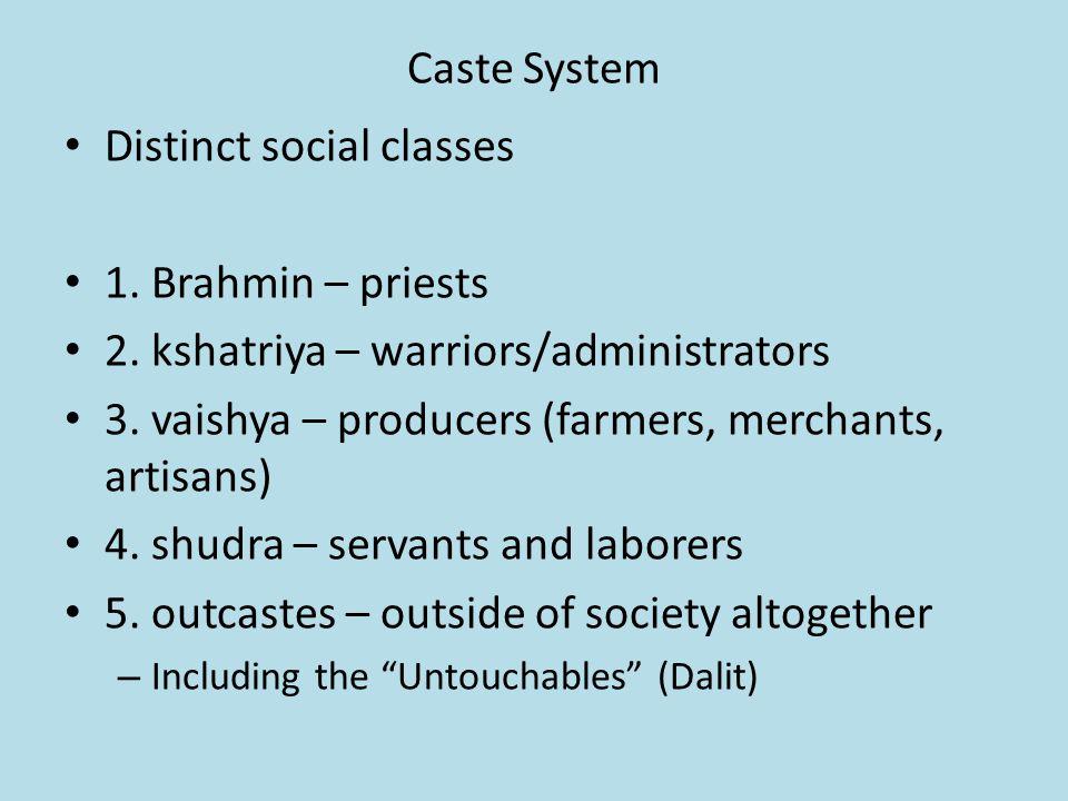 Caste System Distinct social classes 1. Brahmin – priests 2.