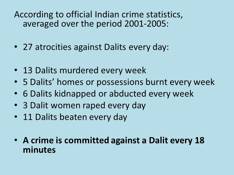 According to official Indian crime statistics, averaged over the period 2001-2005: 27 atrocities against Dalits every day: 13 Dalits murdered every week 5 Dalits' homes or possessions burnt every week 6 Dalits kidnapped or abducted every week 3 Dalit women raped every day 11 Dalits beaten every day A crime is committed against a Dalit every 18 minutes