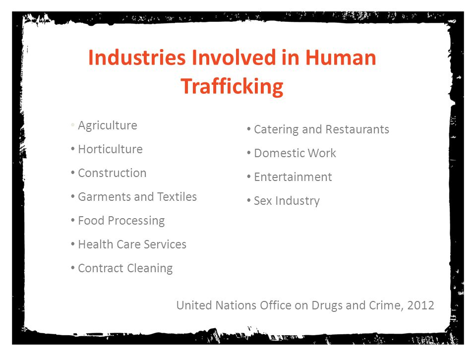 United Nations Office on Drugs and Crime, 2012 Industries Involved in Human Trafficking Agriculture Horticulture Construction Garments and Textiles Food Processing Health Care Services Contract Cleaning Catering and Restaurants Domestic Work Entertainment Sex Industry