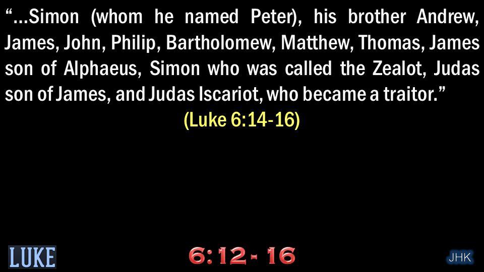 …Simon (whom he named Peter), his brother Andrew, James, John, Philip, Bartholomew, Matthew, Thomas, James son of Alphaeus, Simon who was called the Zealot, Judas son of James, and Judas Iscariot, who became a traitor. (Luke 6:14-16)