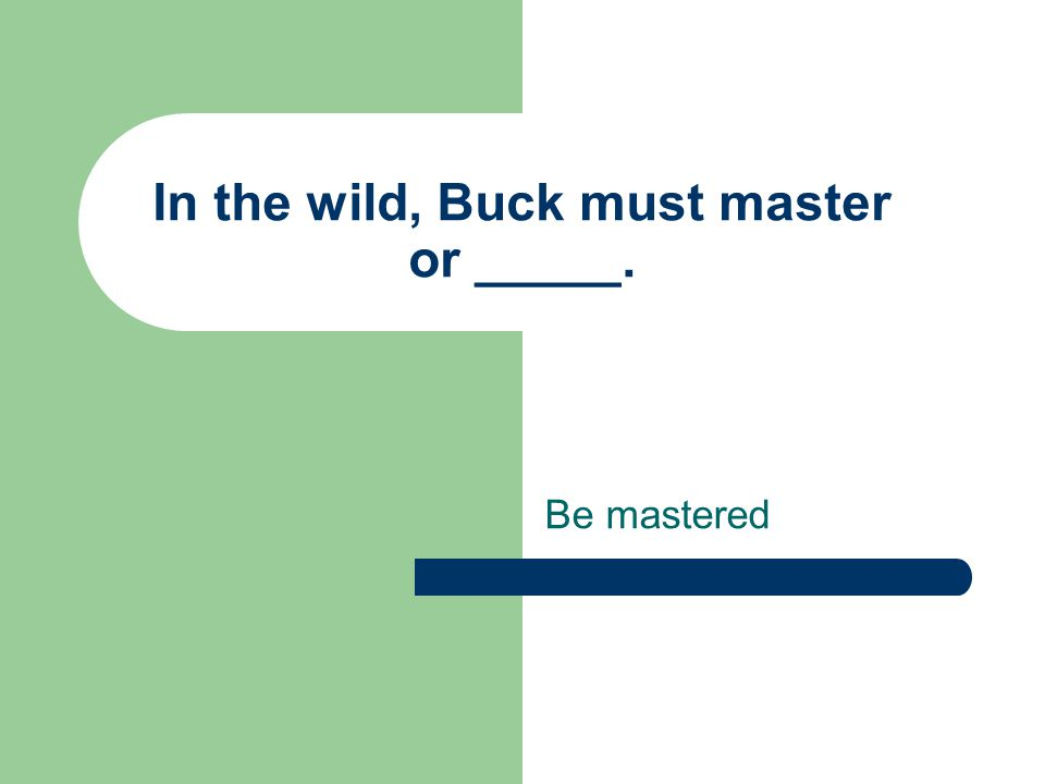 In the wild, Buck must master or _____. Be mastered